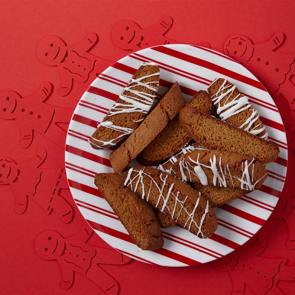 gingerbread biscotti with white glaze