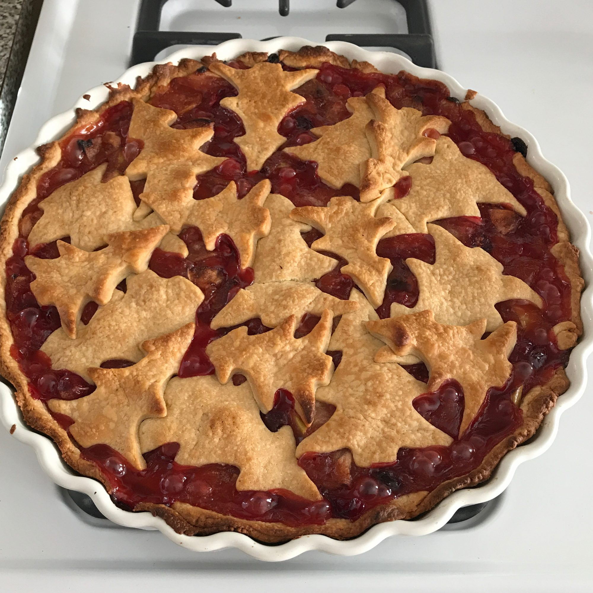 cranberry pie with christmas tree pastry cutouts on top