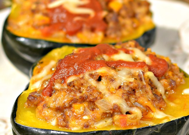 Instant Pot(R) Acorn Squash Stuffed with Italian Sausage