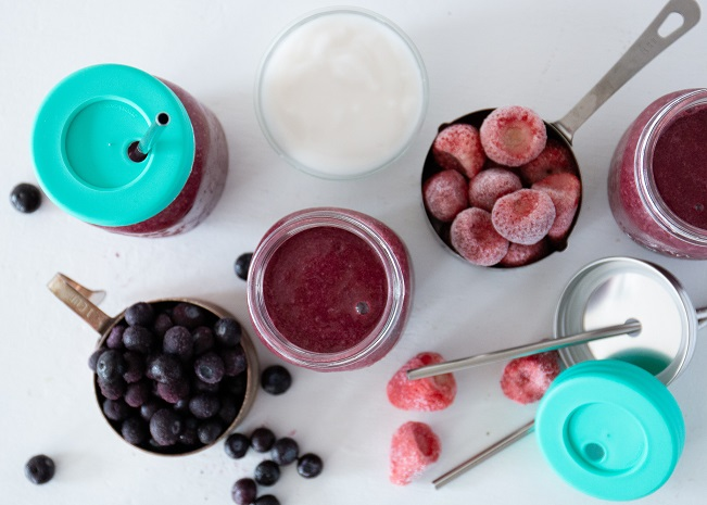 smoothie ingredients and to-go cups