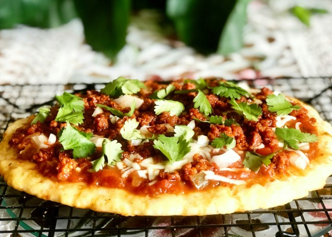 Keto Fathead Pizza with Chorizo and Salsa