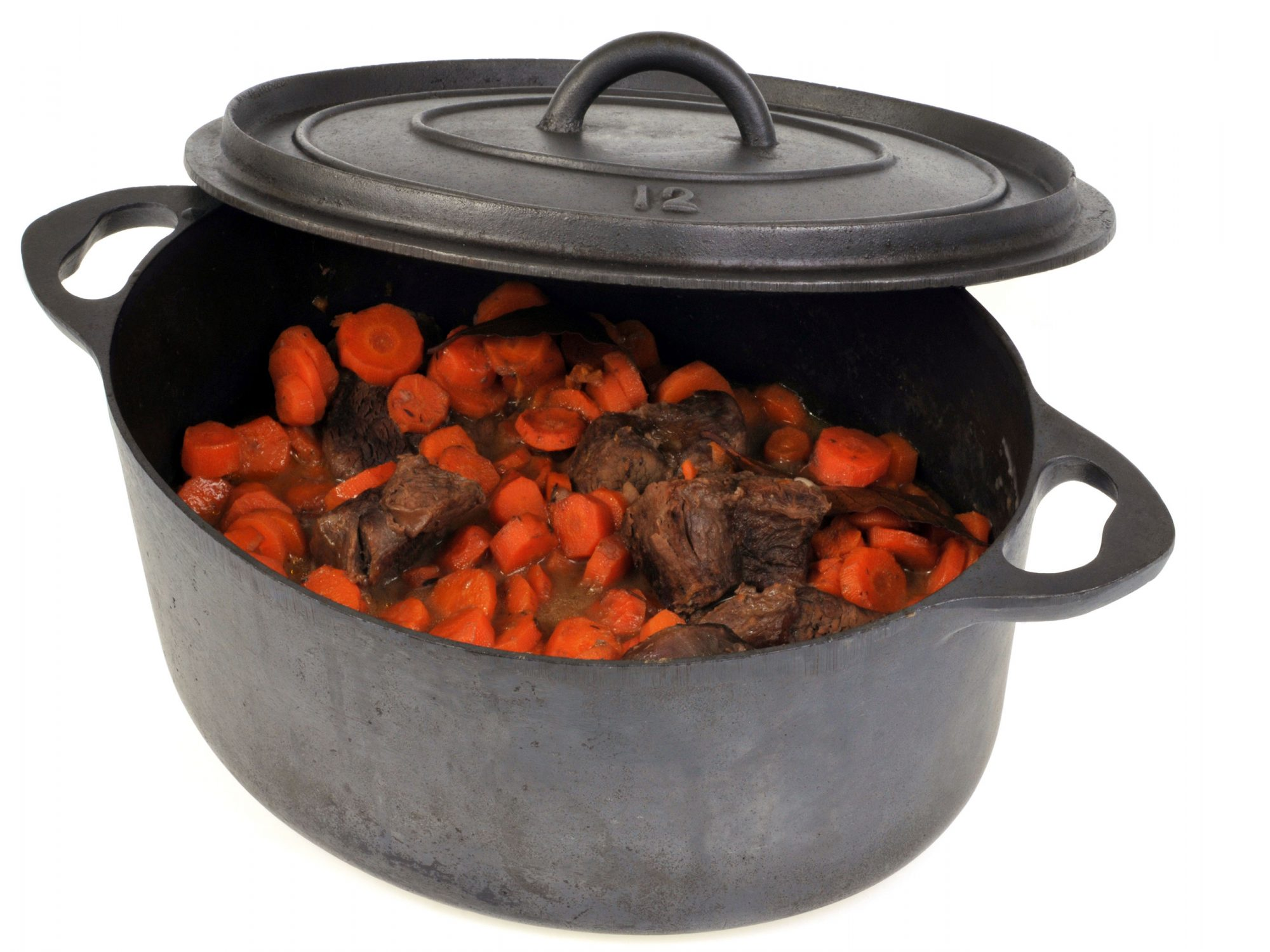 Cast Iron Dutch Oven with carrots and beef