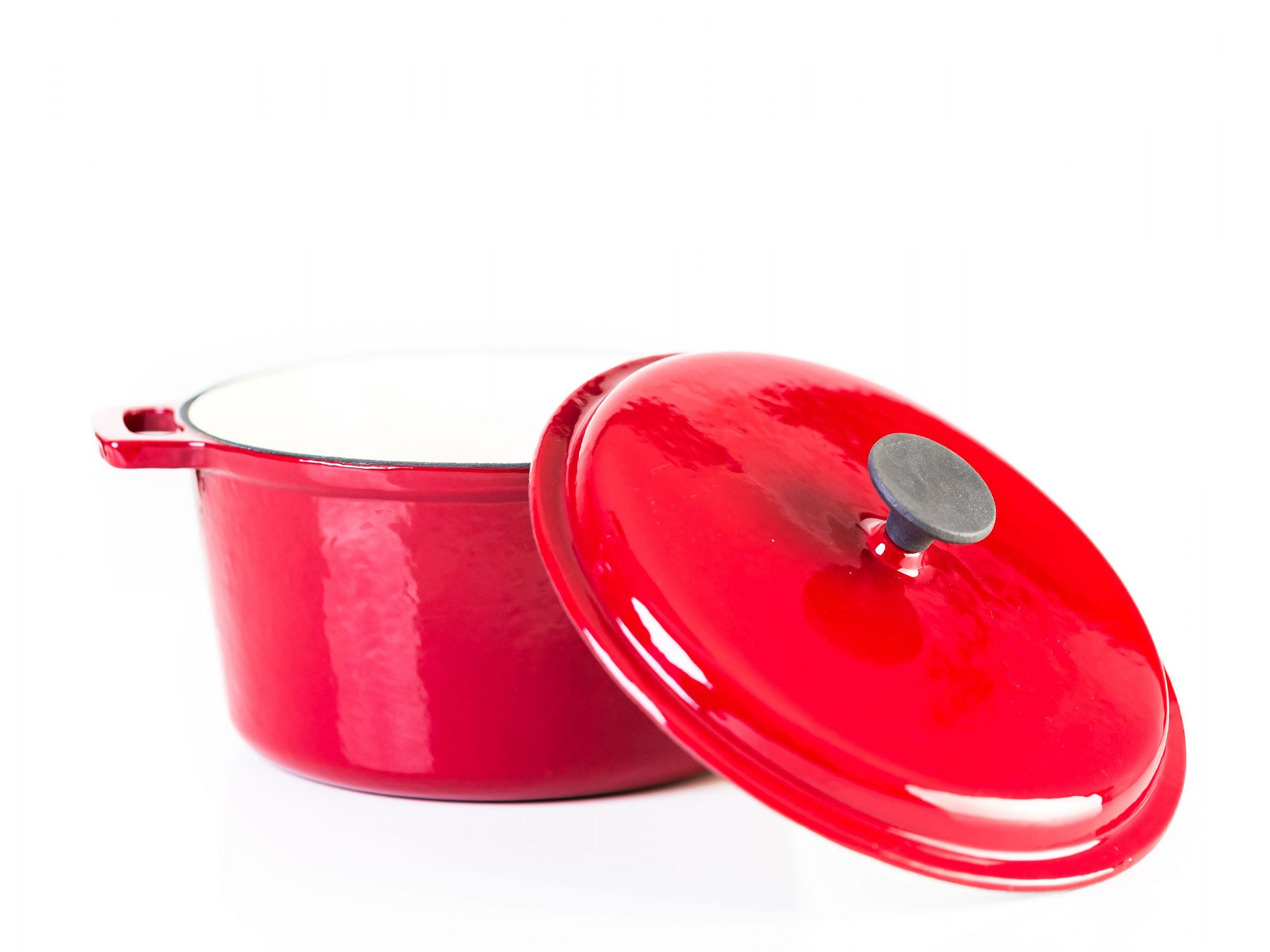 Red Enameled Cast Iron Dutch Oven