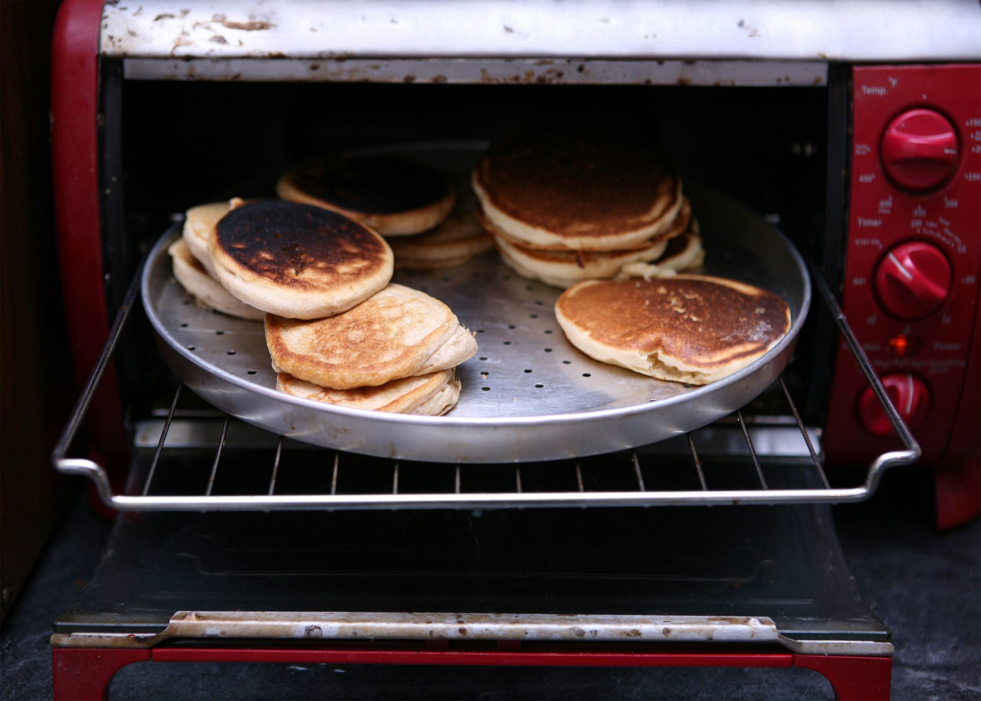 Toaster Oven with Burned Pancakes