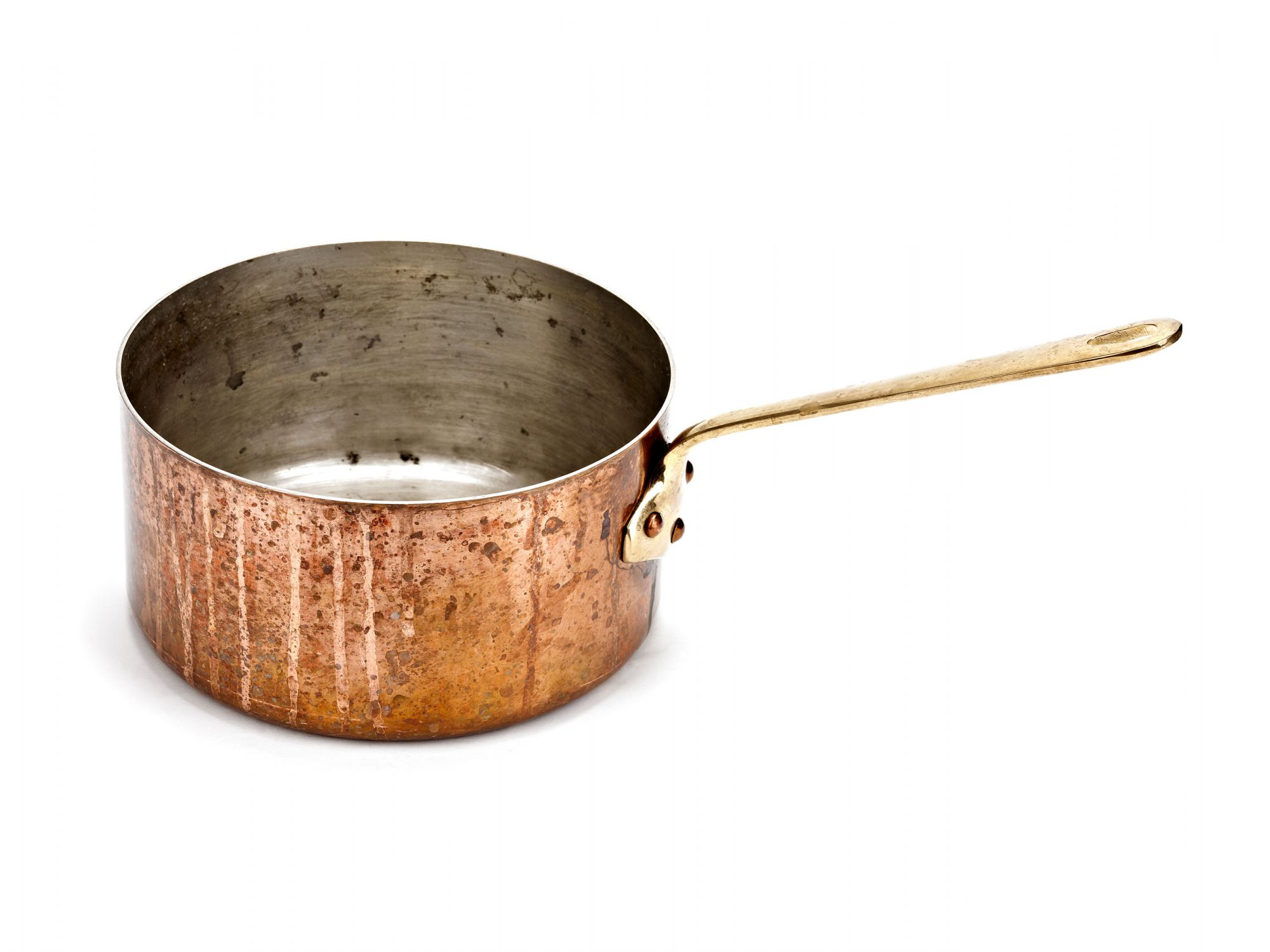 copper saucepan dirty on white background