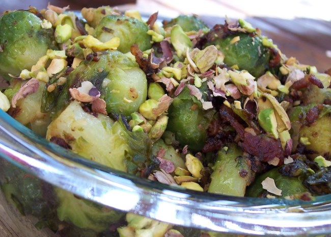 Caramelized Brussels Sprouts with Pistachios