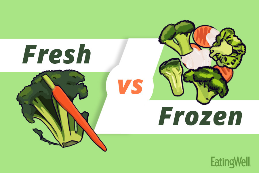 Fresh versus frozen title card with broccoli and carrots