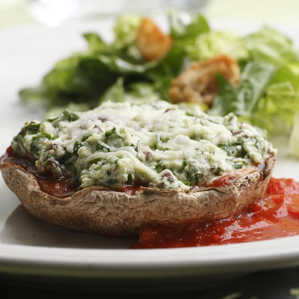 Vegetarian Cheese & Spinach Stuffed Portobellos