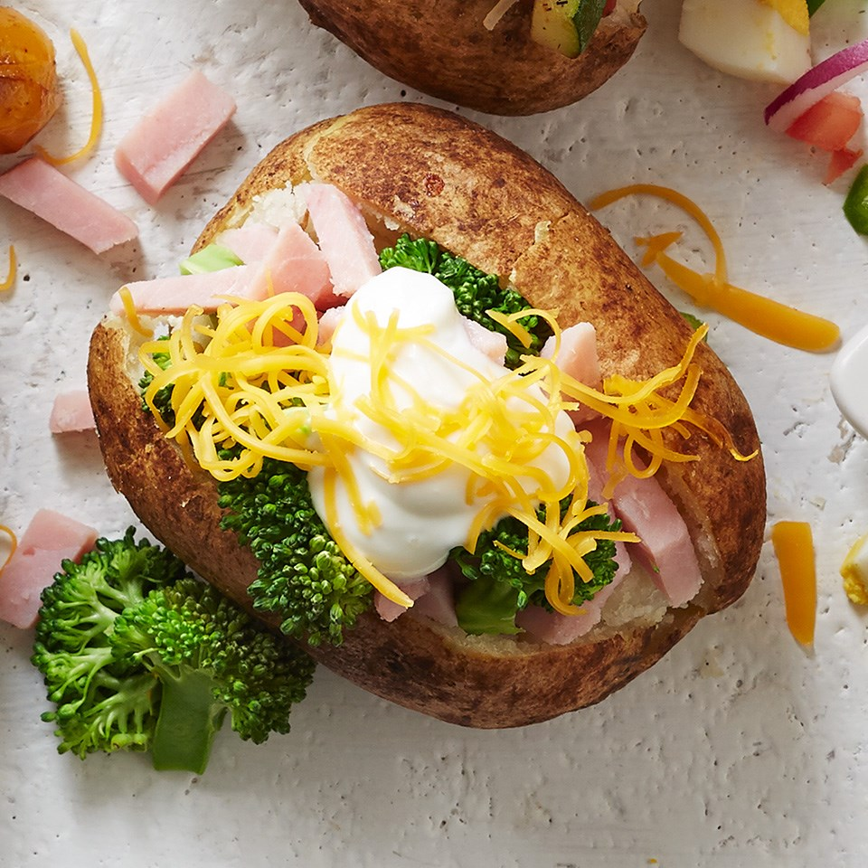 Ham and Broccoli Topped Baked Potato