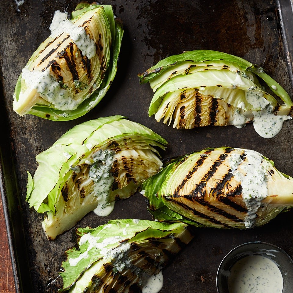 Charred Cabbage with Buttermilk-Herb Dressing