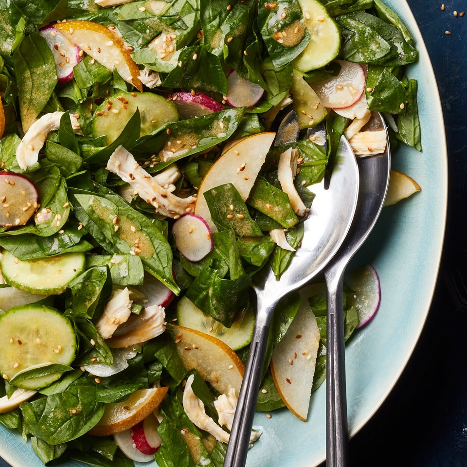 Spinach, Asian Pear & Chicken Salad