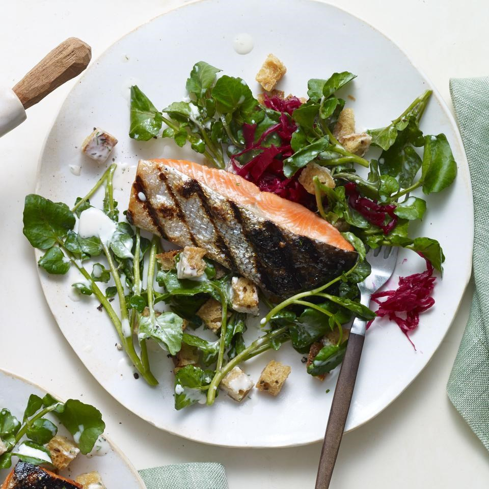 Grilled Salmon with Watercress Salad