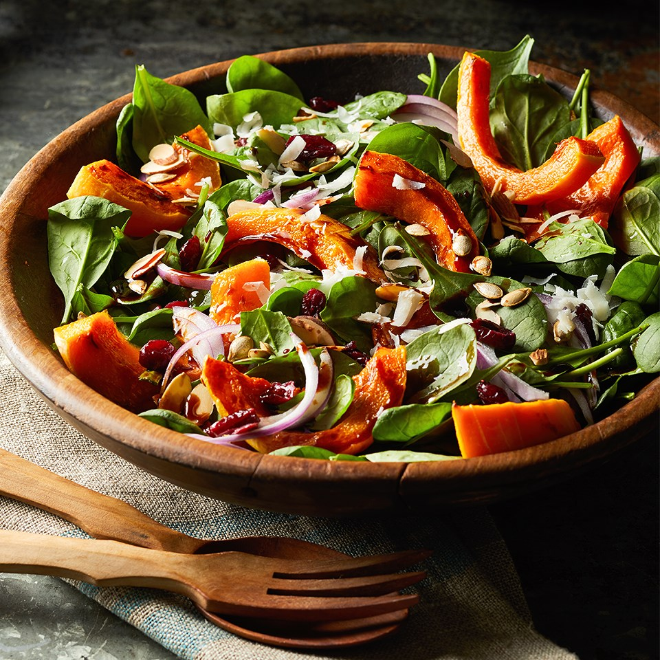 Roasted Squash Spinach Salad