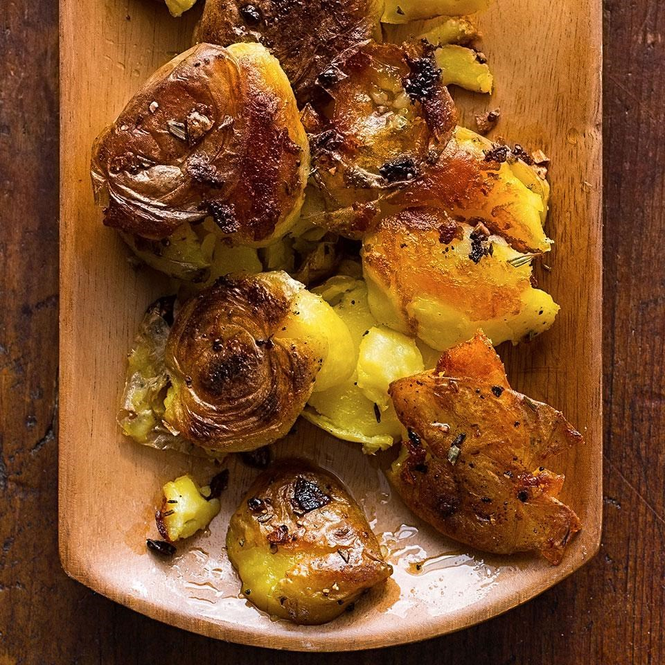 Garlic-Rosemary Smashed Potatoes