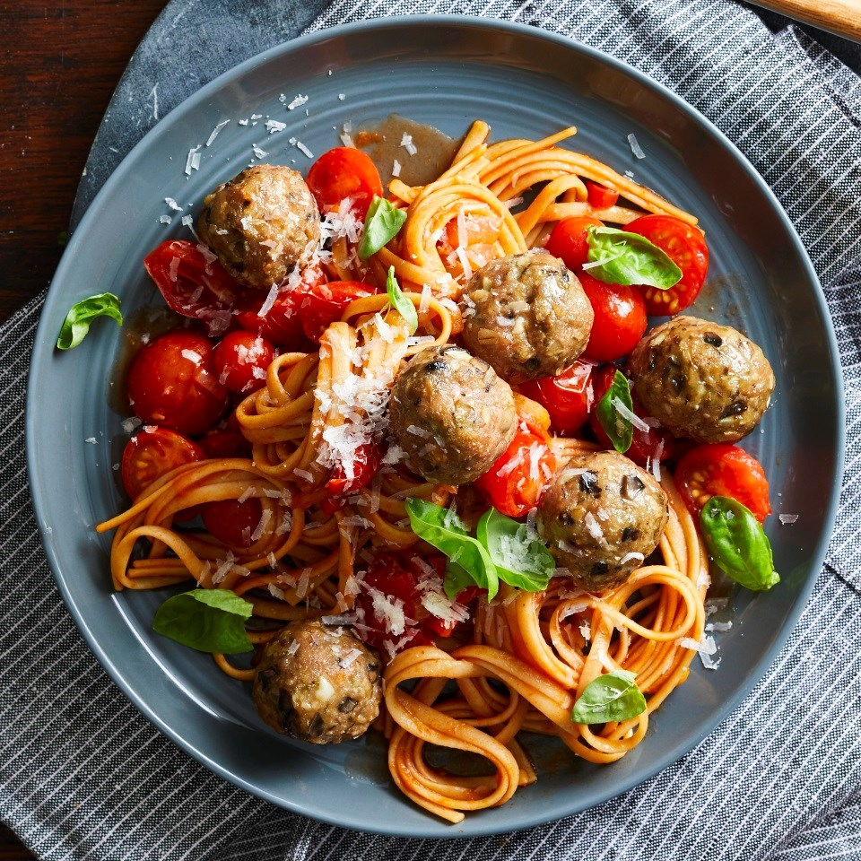 pasta and meatball dish