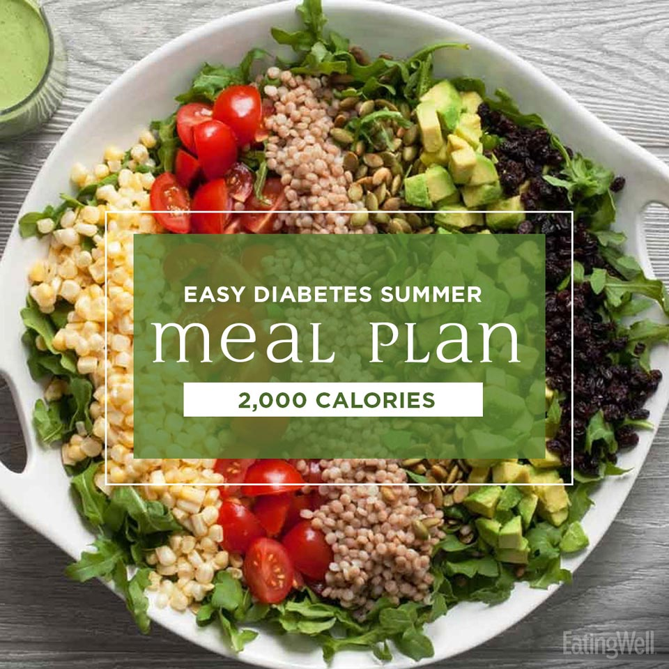 Easy Diabetes Meal Plan for Summer: 2,000 Calories, chopped main dish salad