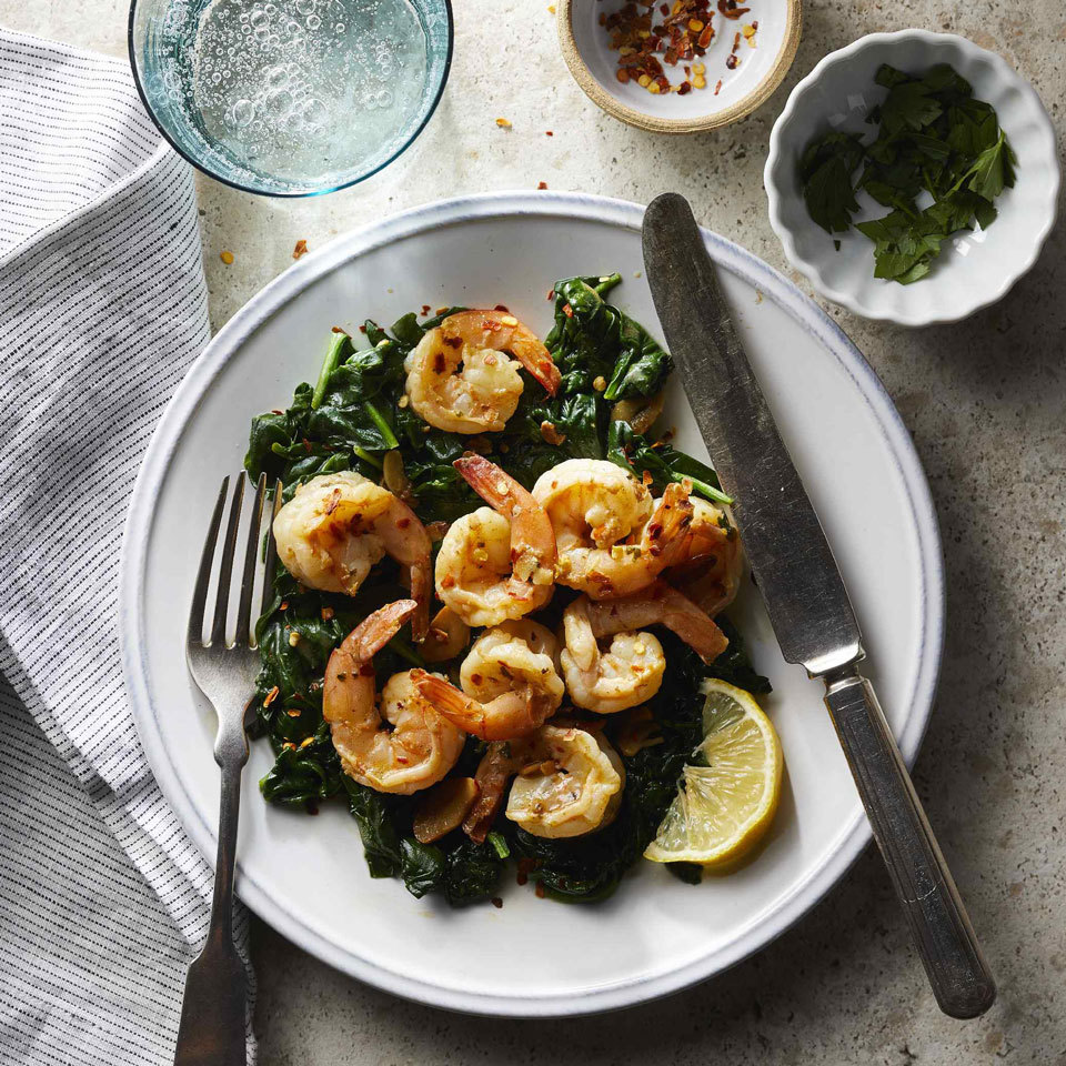 One-Pot Garlicky Shrimp & Spinach