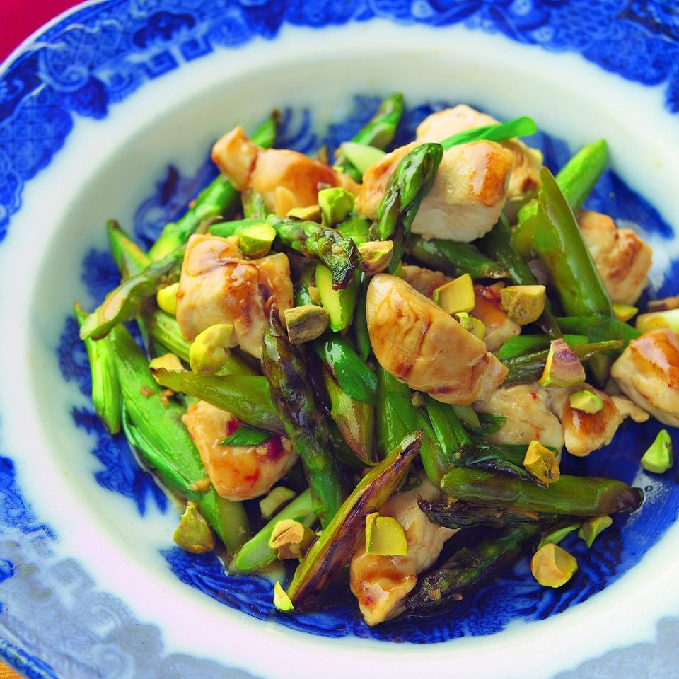 Wok-Seared Chicken Tenders with Asparagus & Pistachios