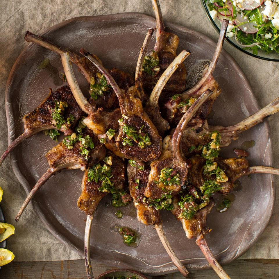 Grilled Lamb Chops with Anchovy-Walnut Chimichurri
