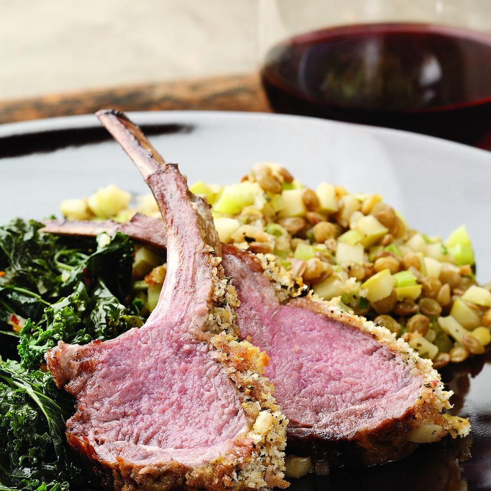 Rack of Lamb with Warm Apple & Lentil Salad