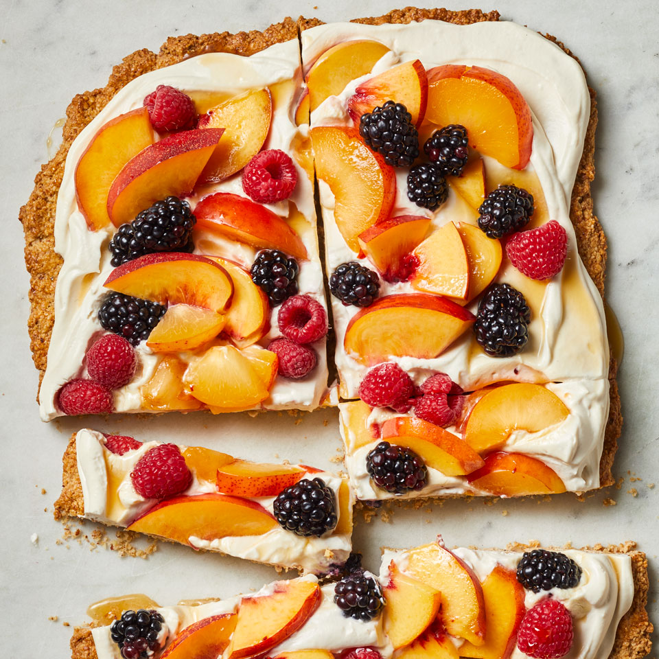 Almond Cookie Tart with Peaches & Berries