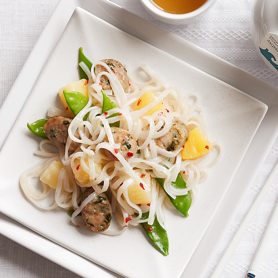 Quick Asian Noodles with Chicken Sausage