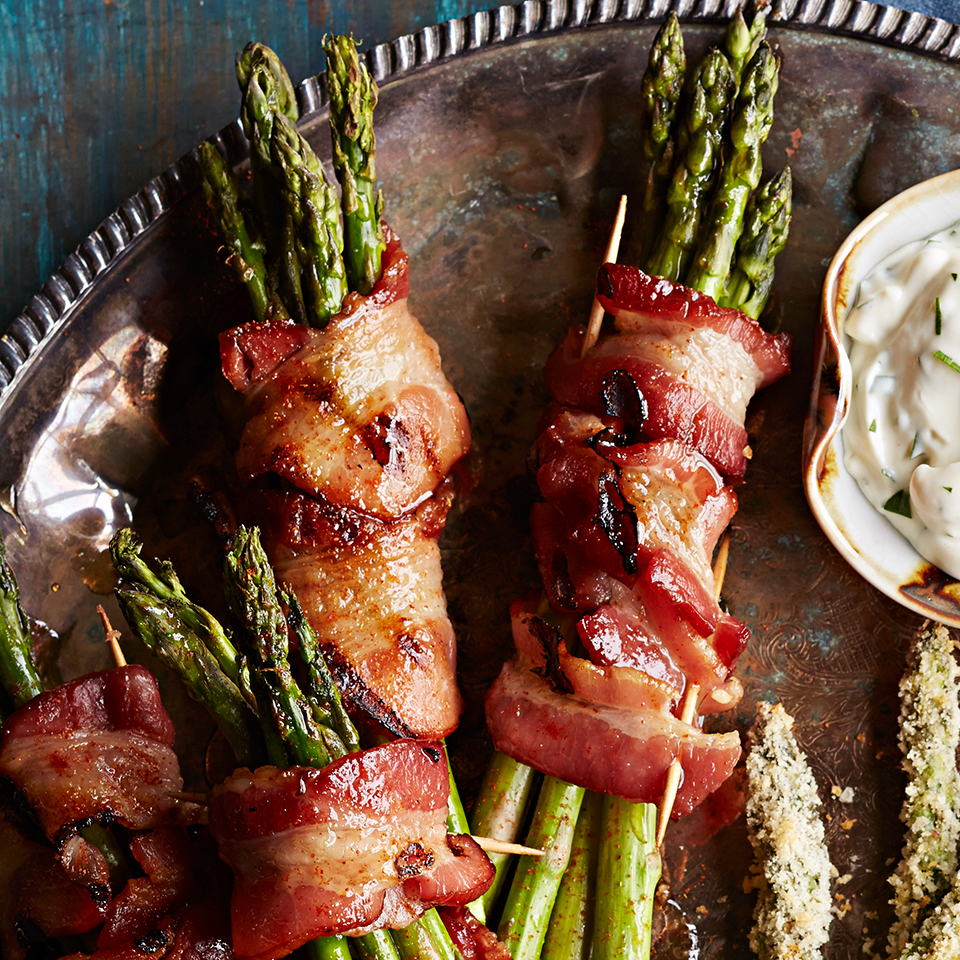 Grilled Bacon-Wrapped Asparagus with Spiced Honey Glaze