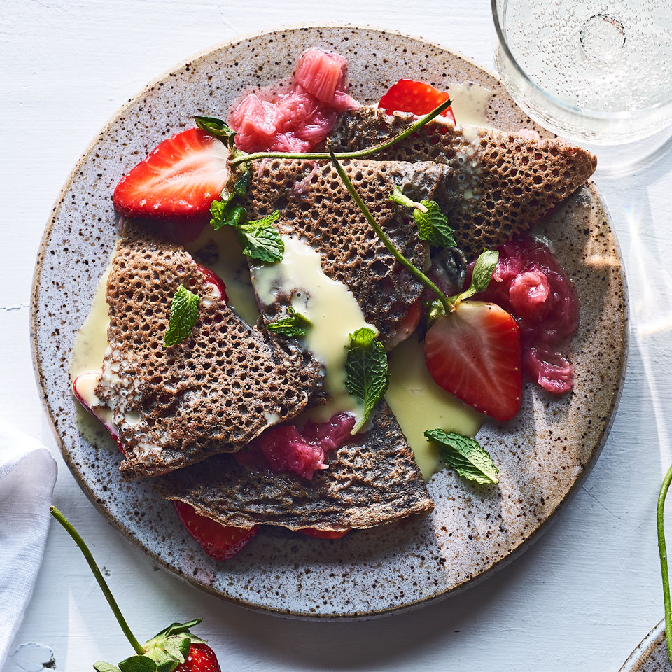 Buckwheat Crepes with Strawberries, Rhubarb & White Chocolate