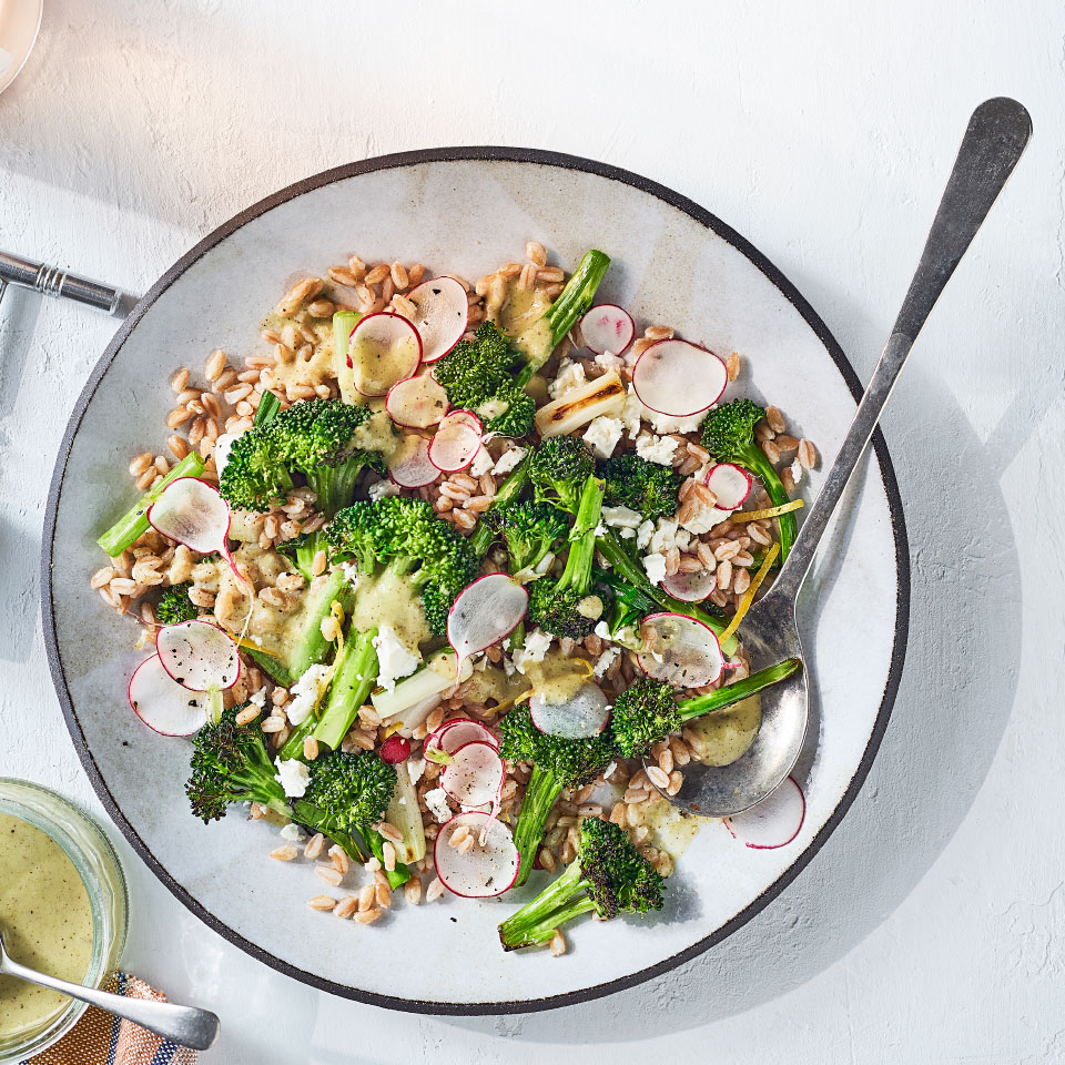 Whole-Grain Salad with Charred Broccoli, Spring Onions & Parsley-Sumac Vinaigrette