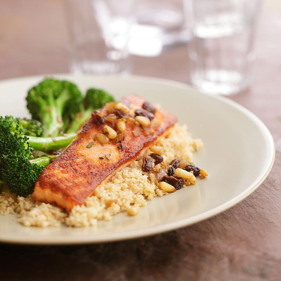 Seared Salmon with Braised Broccoli