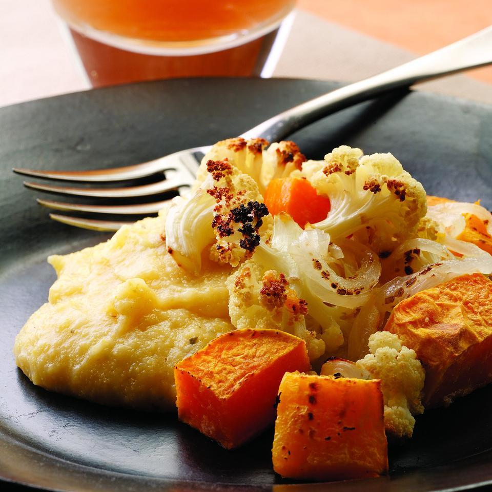 Roasted Winter Vegetables with Cheesy Polenta