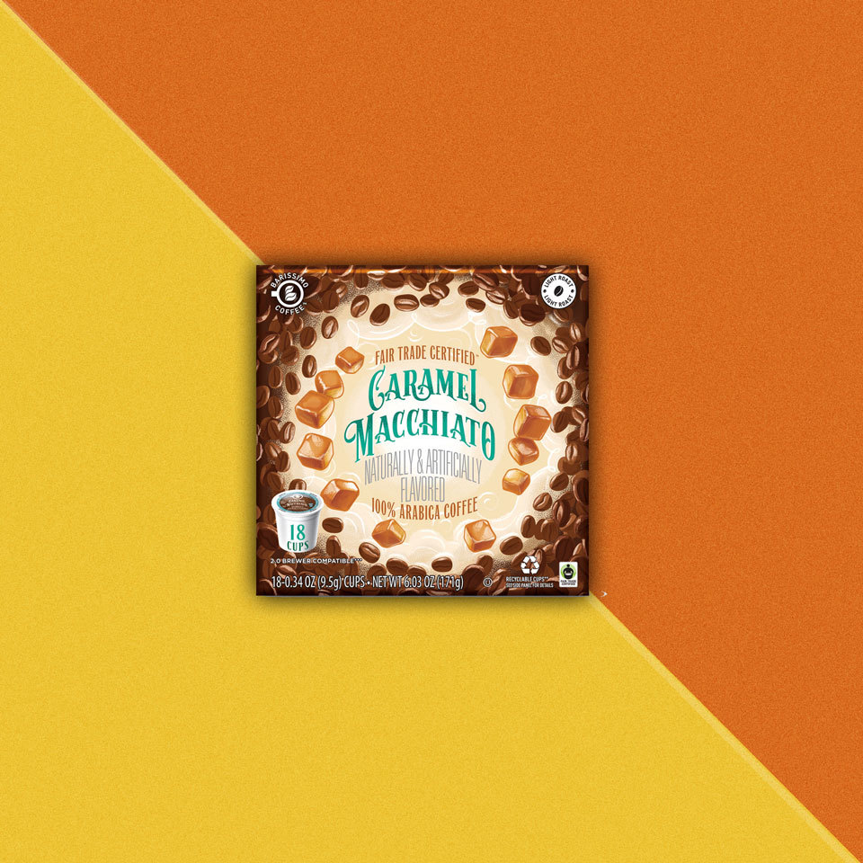 package of Barissimo Caramel Macchiato flavored coffee pods