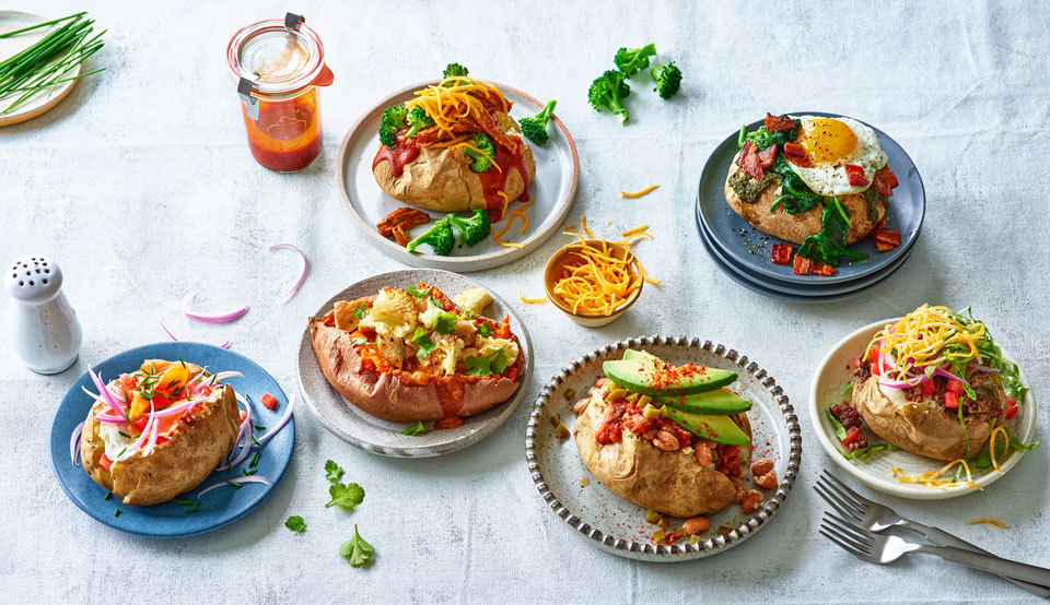 different types of stuffed baked potatoes