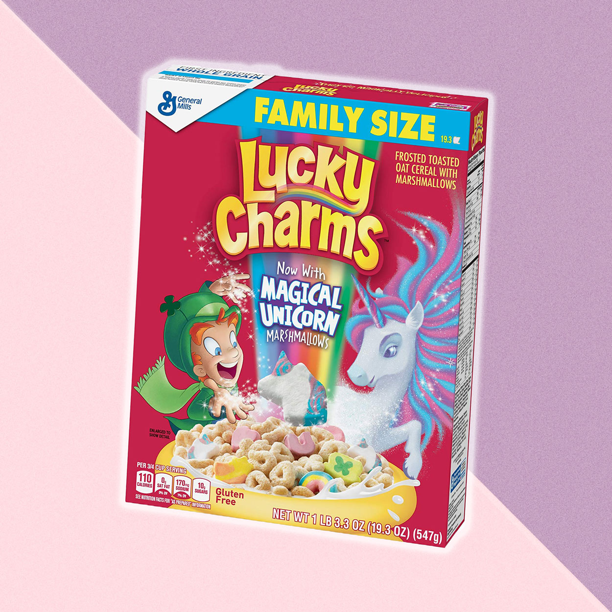 Lucky Charms with Magical Unicorn marshmallows cereal box