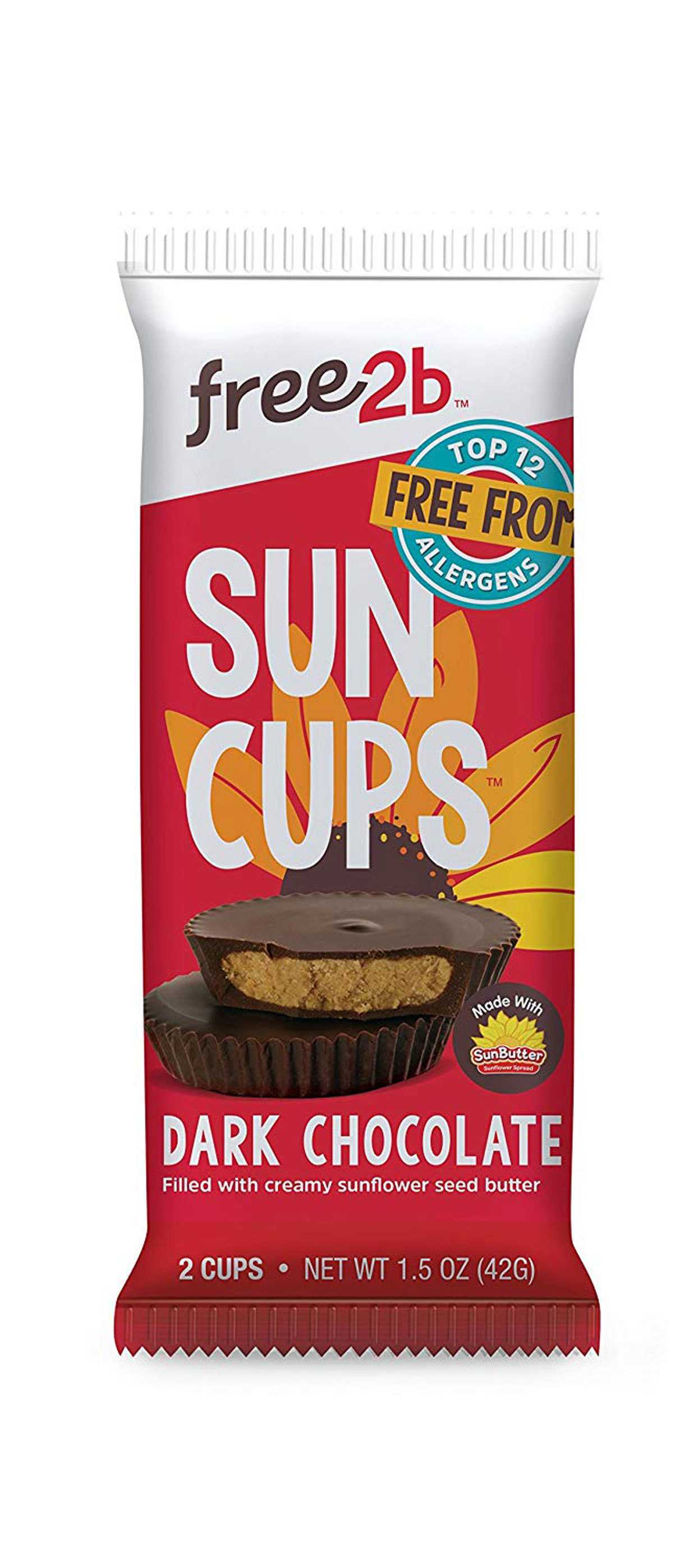 Free2b Sun Cups - dark chocolate filled with sunflower seed butter