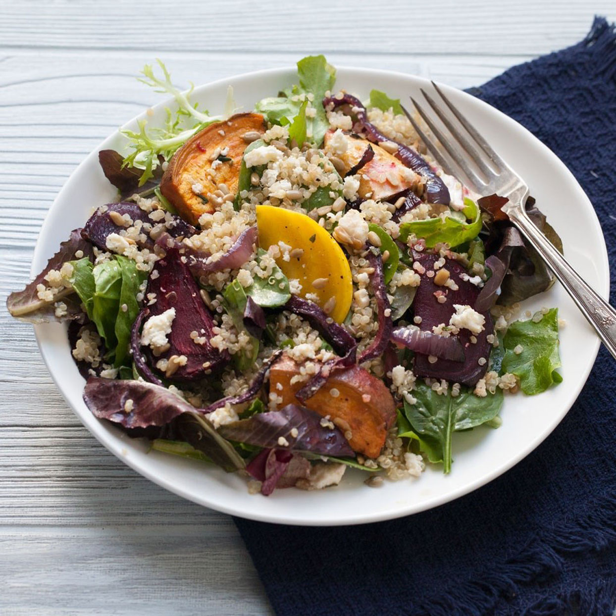 Quick, simple and packed with satisfying protein and fiber, this salad makes a perfect lunch or easy one-dish dinner.