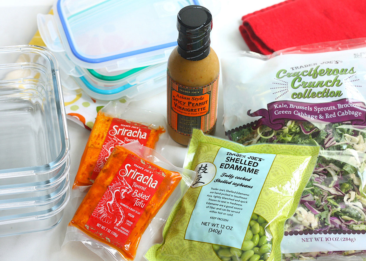 various meal prep ingredients from Trader Joe's