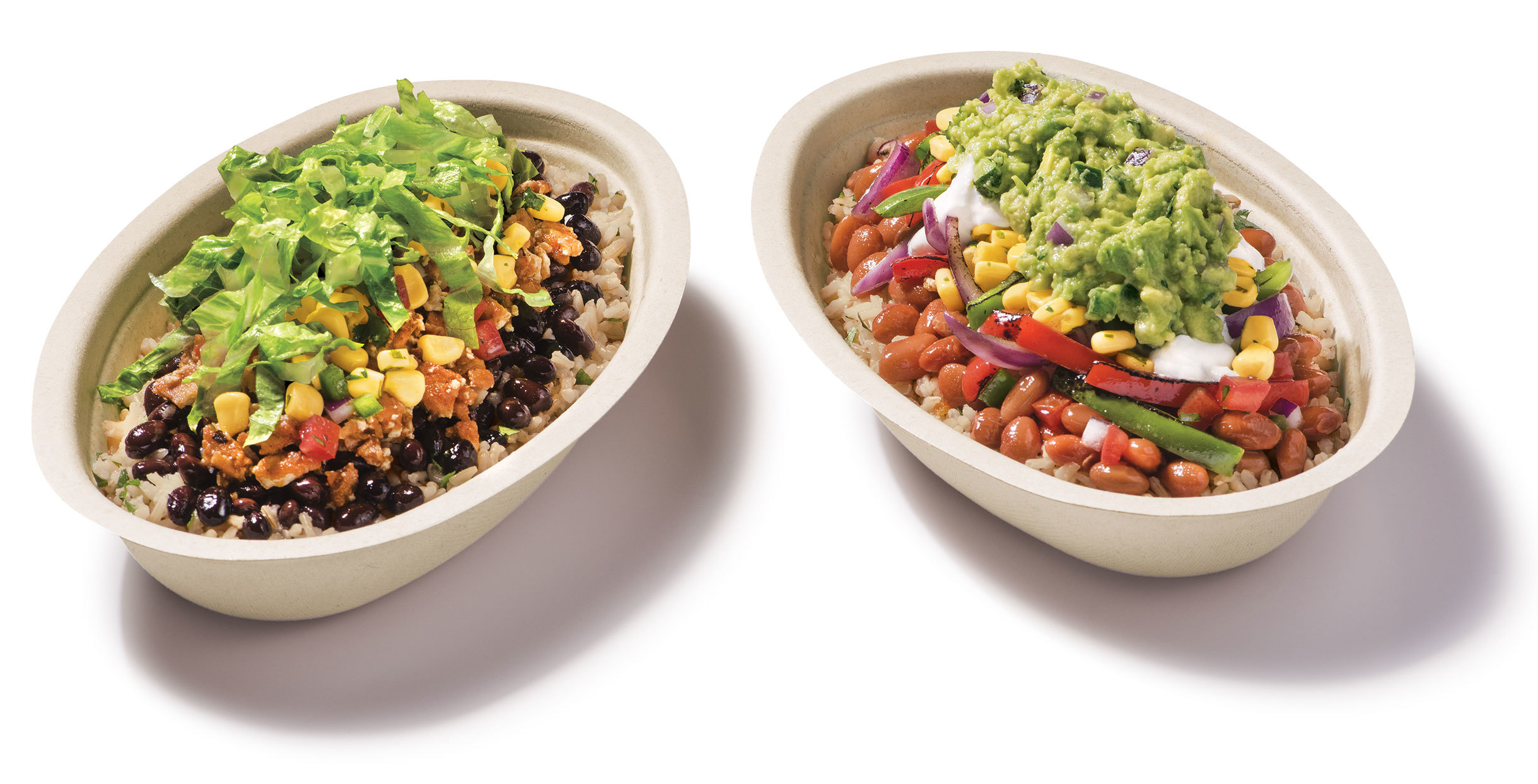 2 burrito bowls from Chipotle