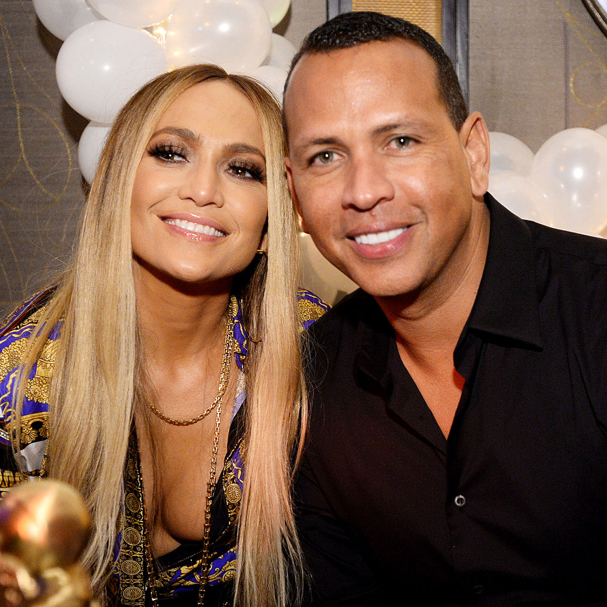J. Lo and Alex Rodriguez smiling
