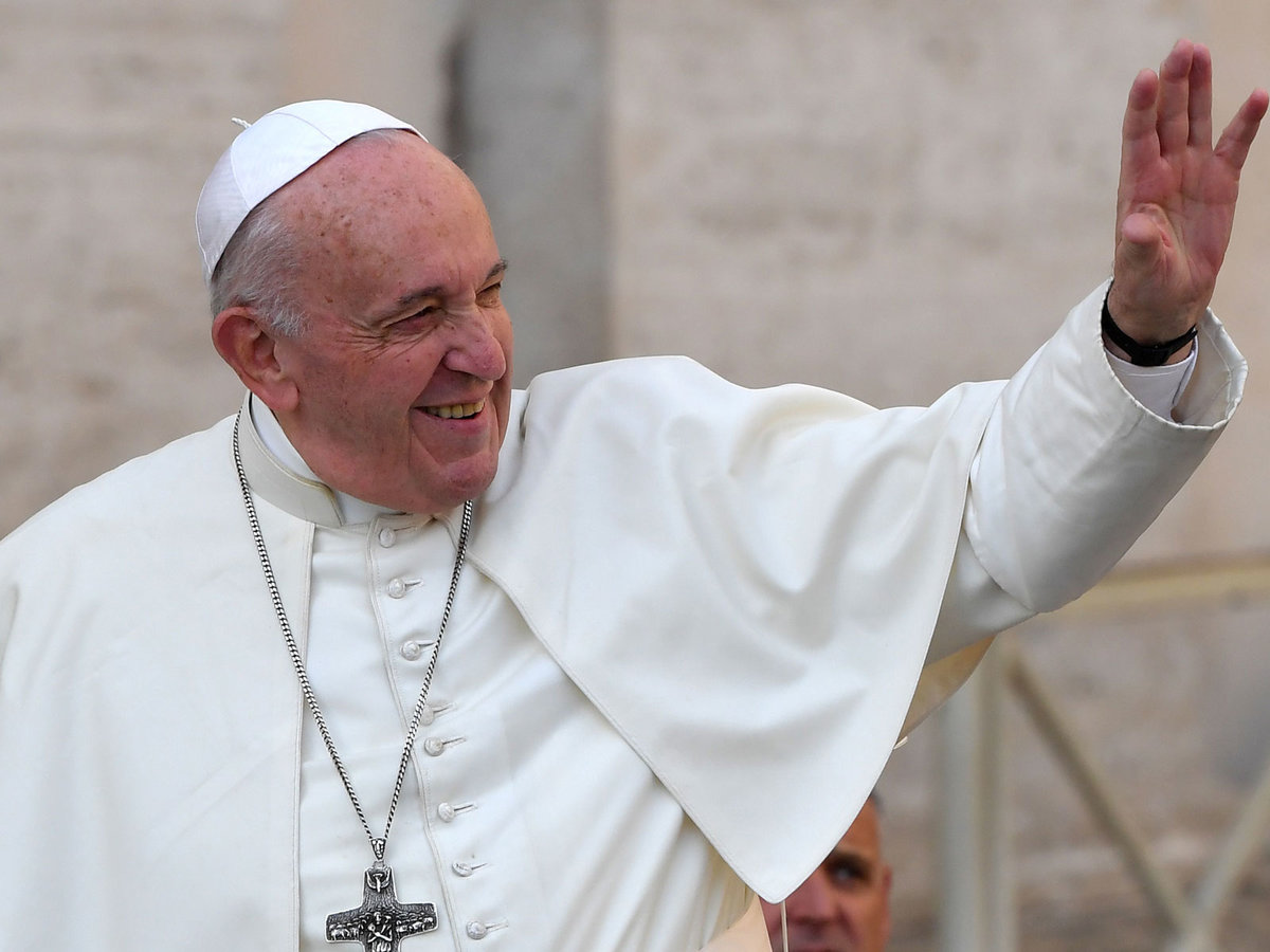 Pope Francis waves to worshipers as he arrives for the weekly general audience on November 6, 2019 at St. Peter's Square in the Vatican. (Photo by Andreas SOLARO / AFP) (Photo by ANDREAS SOLARO/AFP via Getty Images)