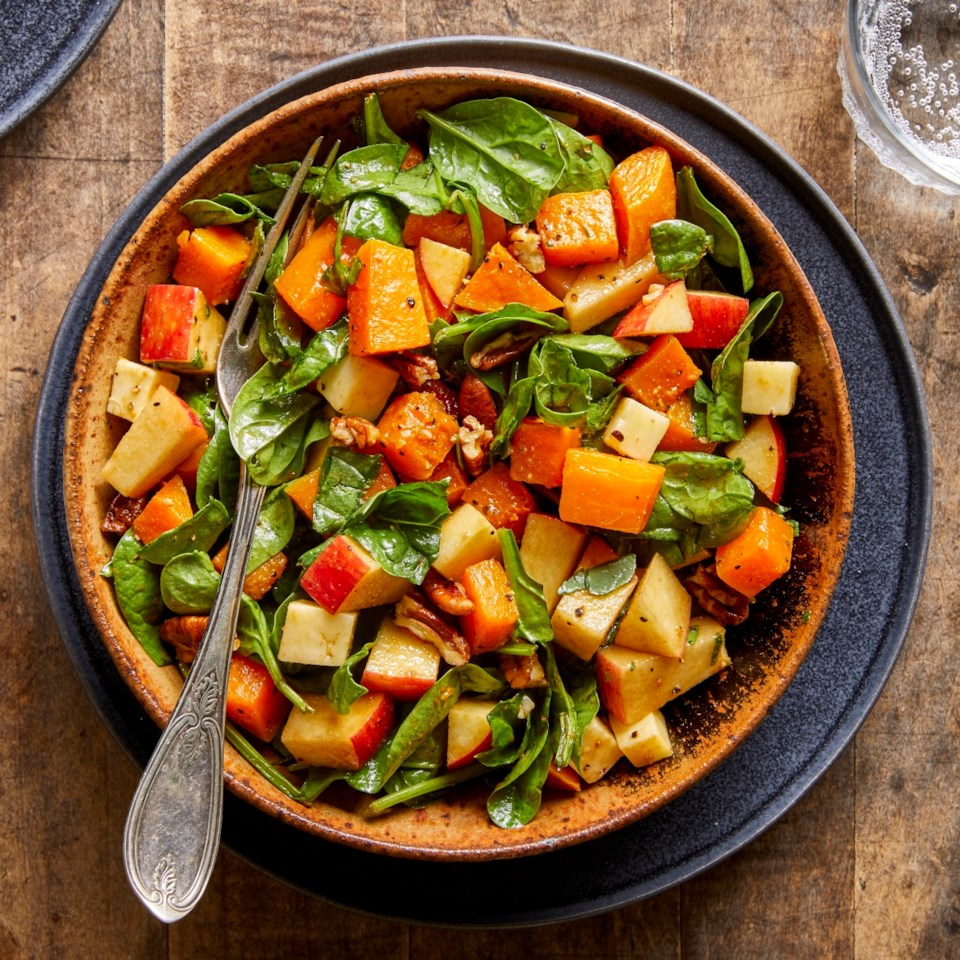 Fall Chopped Salad with Spinach, Butternut Squash, Apples & Cheddar