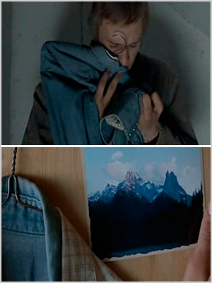 Heath Ledger finds and keeps the shirts Jake Gyllenhaal had saved from their first trip in Brokeback Mountain (2005).