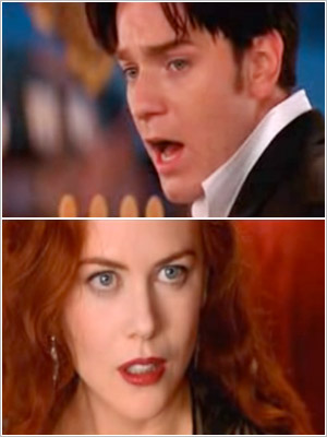 """Ewan McGregor breaks out into """"Your Song"""" while wooing Nicole Kidman in 2001's Moulin Rouge ."""