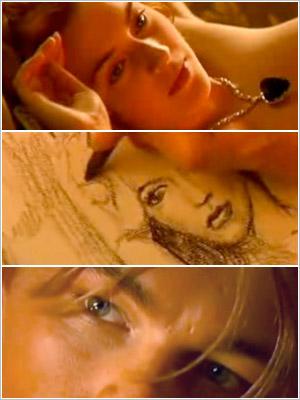 Leonardo DiCaprio draws Kate Winslet in the nude in Titanic (1997).