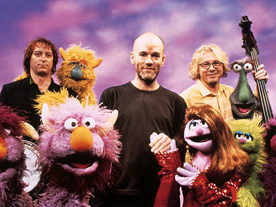 R.E.M., Sesame Street | R.E.M. In a joyful jam with the Muppets, the group sang ''Furry Happy Monsters'' (to the tune of ''Shiny Happy People,'' natch) with great abandon.…