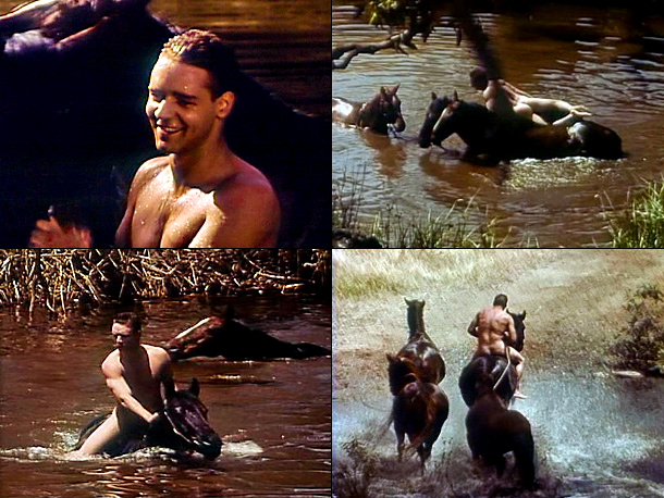 Russell Crowe, Hammers Over the Anvil | in Hammers Over the Anvil (1993) The very first scene of this Aussie drama features the 29-year-old Russell Crowe naked, wet, riding a horse, splashing…