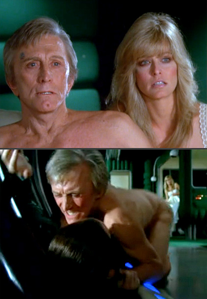 in Saturn 3 (1980) Long before Viggo Mortensen's naked knife fight in Eastern Promises , Kirk Douglas found himself naked and wrestling frequently-nude star Harvey…