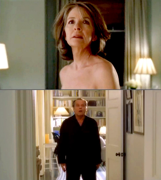 Diane Keaton, Jack Nicholson | in Something's Gotta Give (2003) It's only a fleeting glimpse, and it's played for PG-13 laughs, but when Erica Barry ( Diane Keaton ) takes…