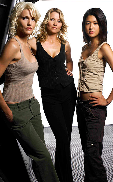 Grace Park, Lucy Lawless, ... | Played by: Tricia Helfer, Lucy Lawless, and Grace Park Show: Battlestar Galactica (2004-2009) Cerebral villainy just doesn't get any hotter than this robotic trio, who…