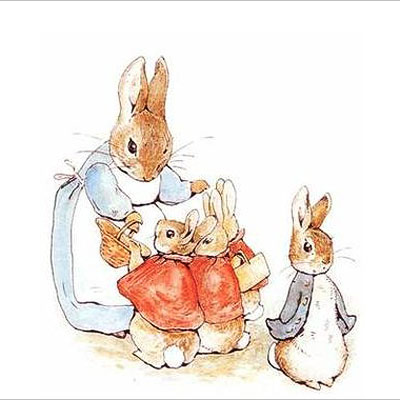 Beatrix Potter | In Beatrix Potter's cautionary tale, the irresponsible Mrs. Rabbit leaves her son, Peter, and daughters, Flopsy, Mopsy, and Cottontail, at home while she goes shopping.…